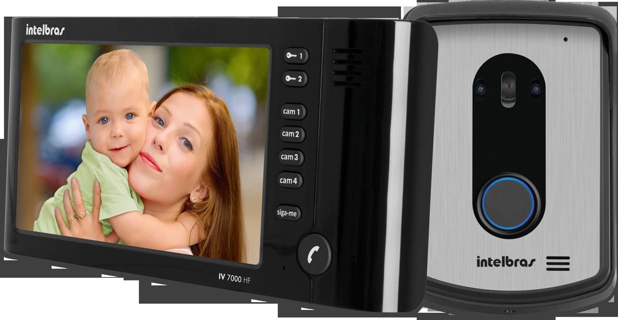 """Kit Vídeo Porteiro Tela 7"""" Viva Voz IV 7010 HF Preto - Intelbras"""