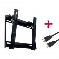 """Suporte SBRP 213 Barra Dupla Inclinável Slim Para TV 23"""" a 42"""" Com Cabo HDMI 1,8m - Brasforma"""