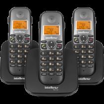 Telefone Sem Fio c/ Identificador e Entrada p/ Headset + 2 Ramais TS-5123 Preto - Intelbras